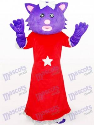 Red Dress Female Purple Bear Anime Mascot Costume