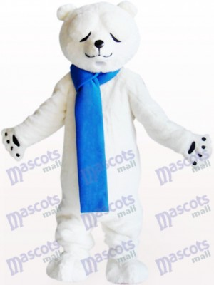 Polar Bear With Narrowed Eyes Animal Mascot Costume