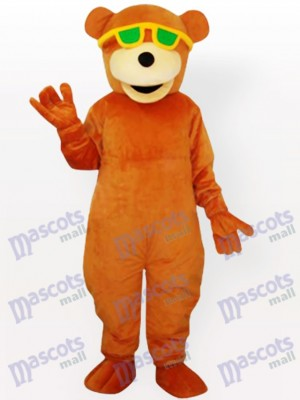 Glasses Wearing Bear Adult Mascot Costume