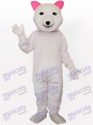 Pink Ear Polar Bear Adult Mascot Costume