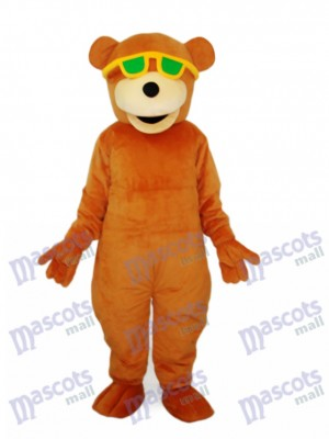 Bear with Green Sunglasses Mascot Adult Costume Animal