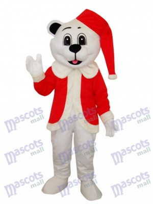 White Bear with Santa Hat Adult Mascot Costume Animal