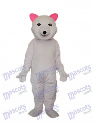 Pink Ears Polar Bear Mascot Adult Costume Animal