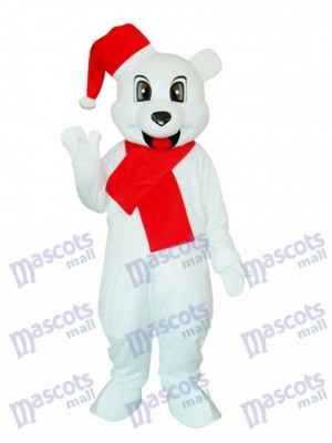 White Christmas Bear Mascot Adult Costume Animal