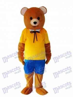 Yellow Shirt Teddy Bear Mascot Adult Costume Animal