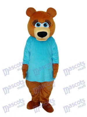 Ms.Bear in Blue T-shirt Mascot Adult Costume Animal