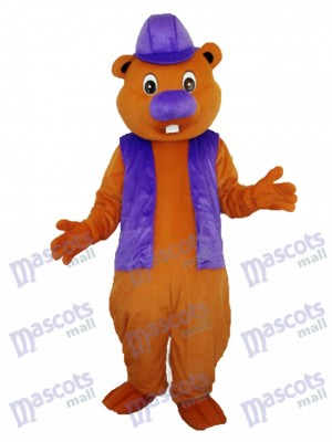 Purple Beaver Mascot Adult Costume Animal