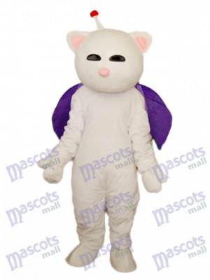 Pink Nose White Cat Mascot Adult Costume Animal