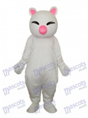 Big Pink Nose White Cat Mascot Adult Costume Animal