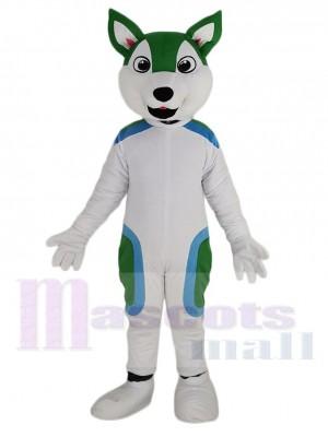 Cute White and Green Husky Dog Mascot Costume Animal