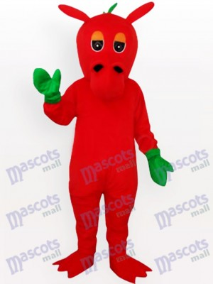 Red Dragon with Green Mitts Adult Mascot Costume