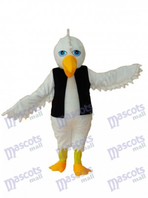 White Eagle in Black Vest Mascot Adult Costume Animal