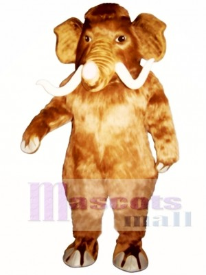 Cute Mammoth Elephant with Long Tusks Mascot Costume Animal