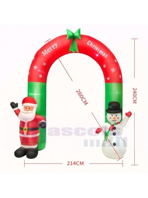 ft Inflatable Large Arch with Santa Claus & Snowman with LED Lights Holiday Archway Decoration Outdoor Yard Lawn Art Decor