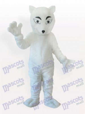 White Polar Fox Adult Mascot Costume