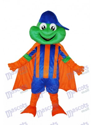 Happy Frog with Blue Hat Adult Mascot Costume Animal