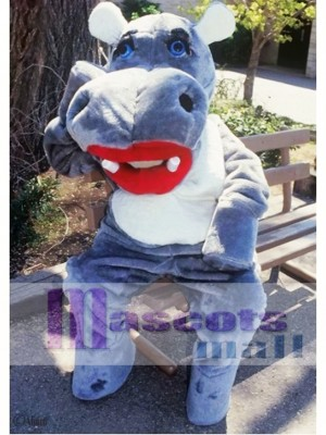 Cute Hillary Hippo Mascot Costume Animal