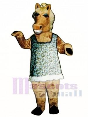 Cute Martha Mare Horse with Dress, Hat & Glasses Mascot Costume Animal
