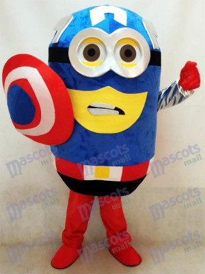 Despicable Me Minions Captain America Mascot Costume with Cape and Sheild Fancy Dress Outfit
