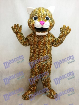 Yellow Leaping Leopard Animal Mascot Costume with a Pink Nose