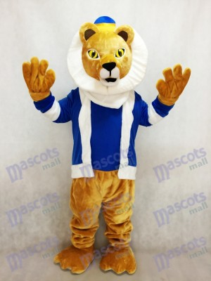 Cute King Lionel Lion Mascot Costume with Blue Clothes and Crown