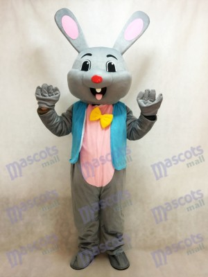 Easter Grey Bunny Rabbit Hare Mascot Costume in Blue Vest