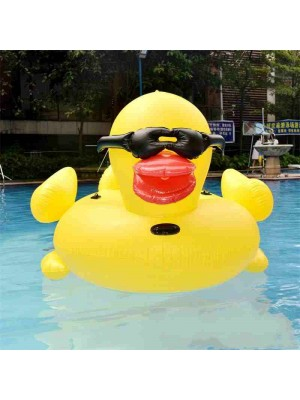 Inflatable Swim Ring Toy Yellow Duck Ride On Water For Adults