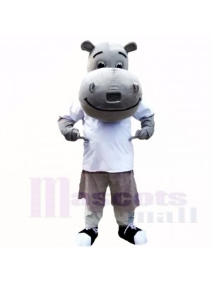 Gray Hippo with White Shirt Mascot Costumes School