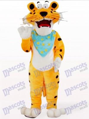 Orange Leopard With Blue Scarf Mascot Costume