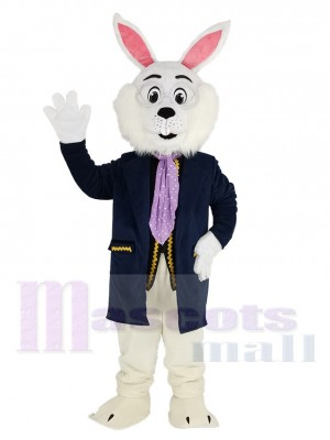 Easter Blue Bunny Rabbit in Blue Suit Mascot Costume