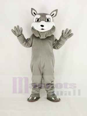 Power Gray Husky Dog Mascot Costume Cartoon