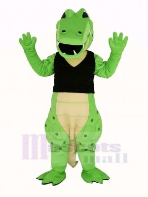 Power Green Crocodile in Black Vest Mascot Costume Animal