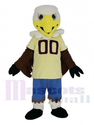 College Eagle with Yellow Jersey Mascot Costume