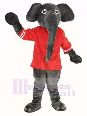 Grey Elephant with Red T-shirt Mascot Costume