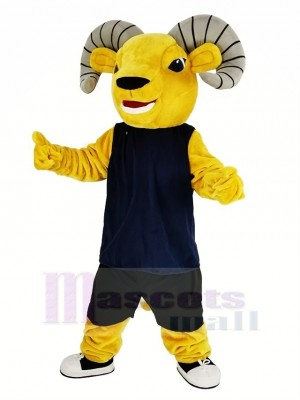 Light Brown Sport Ram with Blue Vest Mascot Costume Animal