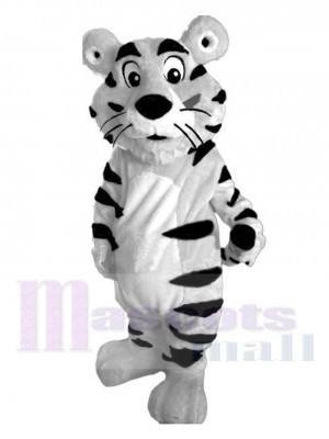 Cute White Tiger with Black Stripes Mascot Costume