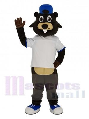 Brown Beaver in White T-shirt Mascot Costume