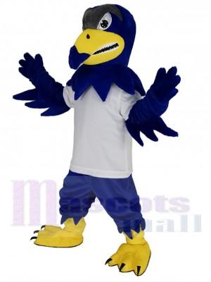 Royal Blue Falcon Eagle in White T-shirt Mascot Costume
