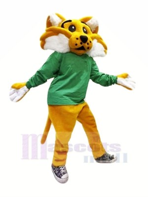 Brown Wildcat in Green Mascot Costumes Cartoon