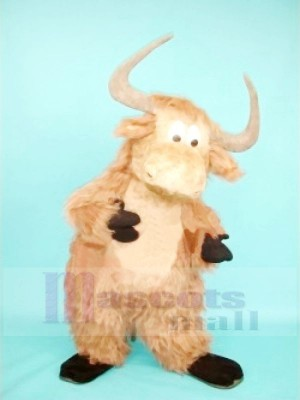 Cute Furry Brown Yak Mascot Costumes Cartoon