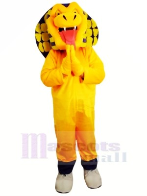 Yellow Cobra Snake Mascot Costume Cartoon