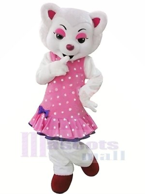 White Beautiful Wolf in Pink Mascot Costumes Cartoon