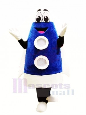 Cute Blue Rocket Mascot Costume Cartoon