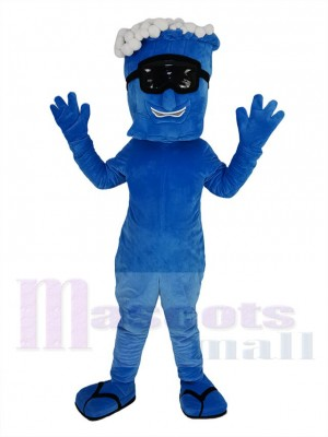 Blue Wave with Black Glasses Mascot Costume