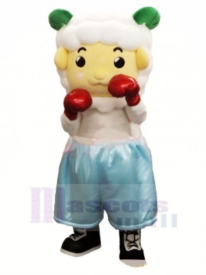 Cute Boxer Sheep Mascot Costume Cartoon