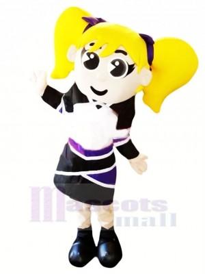 Cheerleader with Yellow Hair Mascot Costume People