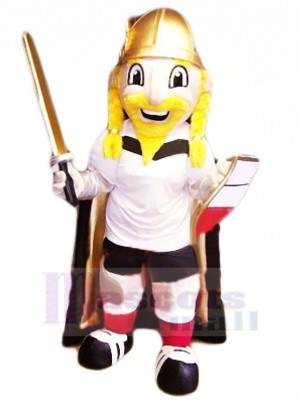 Viking with Yellow Beard Mascot Costume People