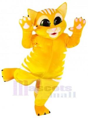 Happy Yellow Cat Mascot Costume Animal