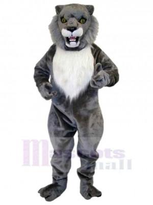 Fierce Grey Wildcat Mascot Costume Animal Adult