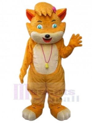Orange And Beige Cat Mascot Costume Animal with Green Eyes
